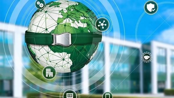DEKRA Cyber-Sercurity Weltkugel mit Icons