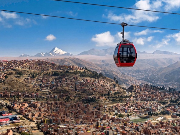 The highest and longest urban commuter aerial railway network in La Paz