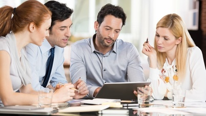 office team talking